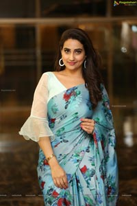 Manjusha in Light Blue Floral Saree